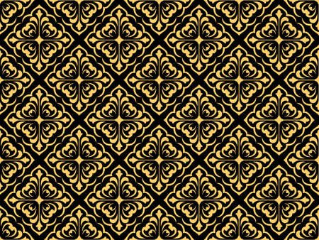 Wallpaper in the style of Baroque. Seamless vector background. Black and gold floral ornament. Graphic pattern for fabric, wallpaper, packaging. Ornate Damask flower ornament Vectores