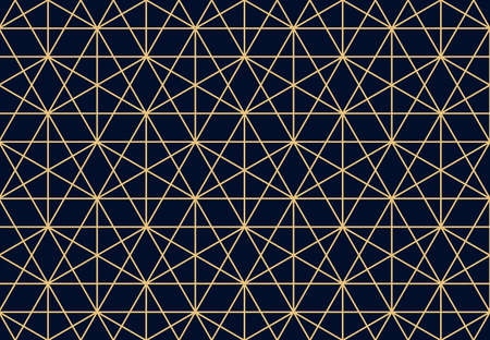 The geometric pattern with lines. Seamless vector background. Dark blue and gold texture. Graphic modern pattern. Simple lattice graphic design
