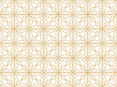 Flower geometric pattern. Seamless vector background. White and gold ornament Vectores