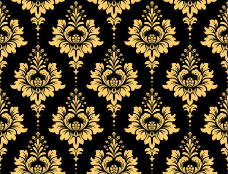 Floral pattern. Vintage wallpaper in the Baroque style. Seamless vector background. Black and gold ornament for fabric, wallpaper, packaging. Ornate Damask flower ornament