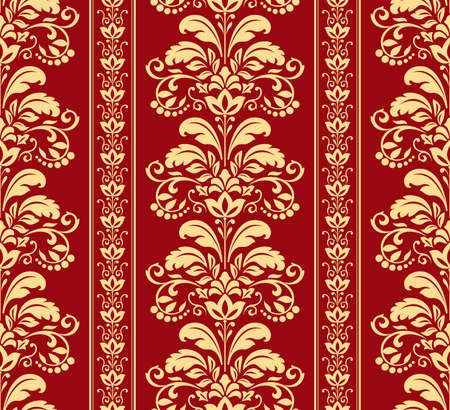 Wallpaper in the style of Baroque. Seamless vector background. Gold and red floral ornament. Graphic pattern for fabric, wallpaper, packaging. Ornate Damask flower ornament Vectores