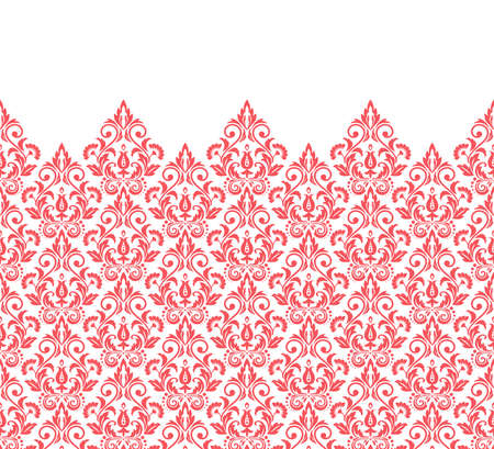 Wallpaper in the style of Baroque. Modern vector background. White and pink floral ornament. Graphic pattern for fabric, wallpaper, packaging. Ornate Damask flower ornament Vectores