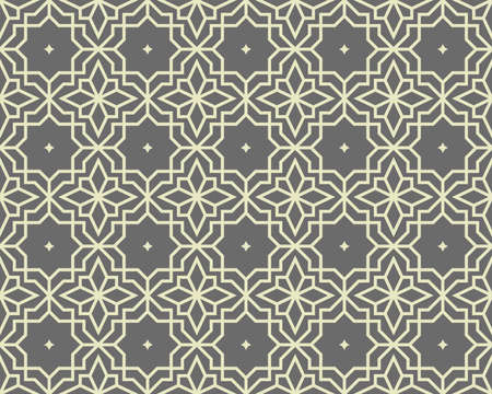 Abstract geometry pattern in Arabian style. Seamless vector background. Gray graphic ornament. Simple lattice graphic design