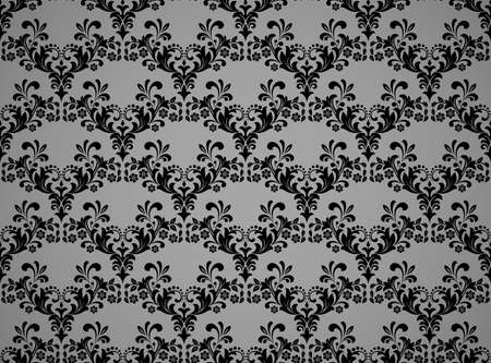 Floral pattern. Vintage wallpaper in the Baroque style. Seamless vector background. Black and gray ornament for fabric, wallpaper, packaging. Ornate Damask flower ornament Vectores
