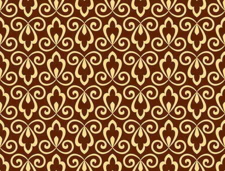 Flower geometric pattern. Seamless vector background. Dark brown and gold ornament Vectores
