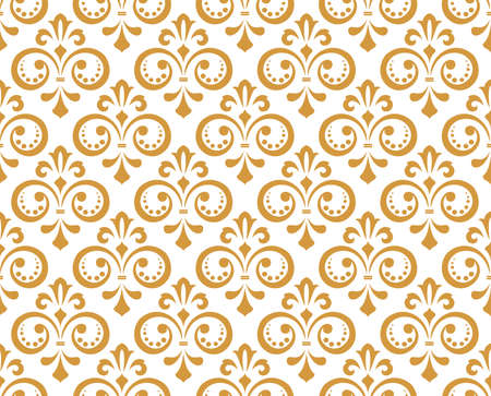 Wallpaper in the style of Baroque. Seamless vector background. White and gold floral ornament. Graphic pattern for fabric, wallpaper, packaging. Ornate Damask flower ornament Vectores