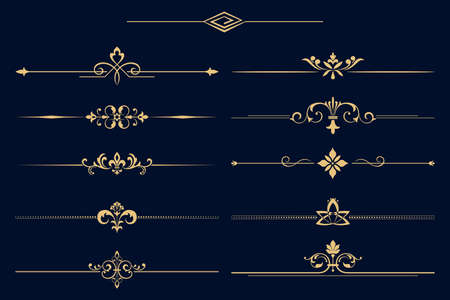 Vintage set. Floral elements for design monograms, invitations, frames, menus and labels. Graphic design of the website, cafes, boutiques, hotels, wedding invitations. Vectores