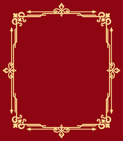 Decorative frame Elegant vector element for design in Eastern style, place for text. Floral golden and red border. Lace illustration for invitations and greeting cards