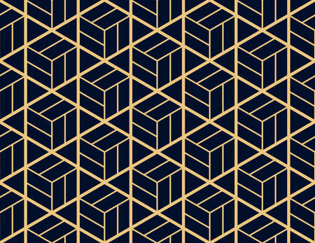 The geometric pattern with lines. Seamless vector background. Gold and dark blue texture. Graphic modern pattern. Simple lattice graphic design
