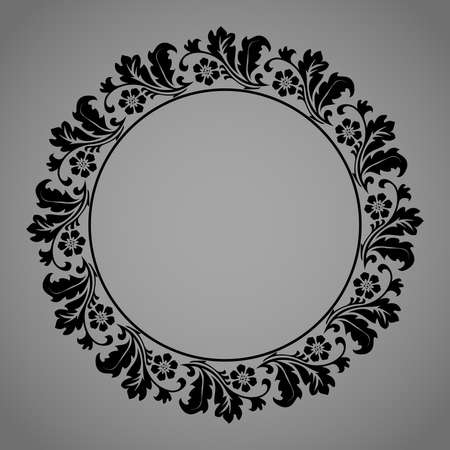 Decorative frame Elegant vector element for design in Eastern style, place for text. Floral black and gray border. Lace illustration for invitations and greeting cards