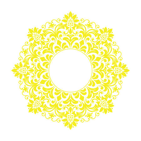Decorative frame Elegant vector element for design in Eastern style, place for text. Floral yellow and white border. Lace illustration for invitations and greeting cards