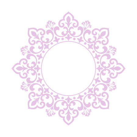 Decorative frame Elegant vector element for design in Eastern style, place for text. Floral pink and white border. Lace illustration for invitations and greeting cards Vectores