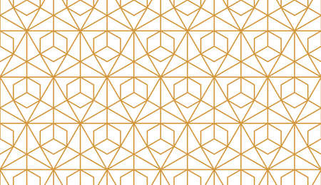 The geometric pattern with lines. Seamless vector background. White and gold texture. Graphic modern pattern. Simple lattice graphic design