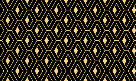 The geometric pattern with lines. Seamless vector background. Gold and black texture. Graphic modern pattern. Simple lattice graphic design Vectores