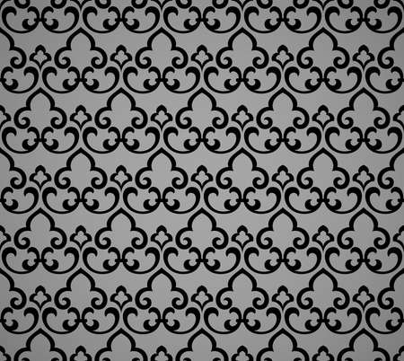Flower geometric pattern. Seamless vector background. Black and gray ornament Vectores