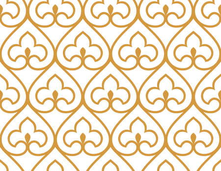 Abstract geometry pattern in Arabian style. Seamless vector background. White and gold graphic ornament. Simple lattice graphic design