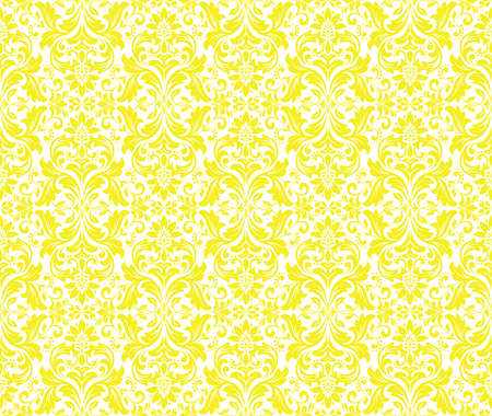 Wallpaper in the style of Baroque. Seamless vector background. White and yellow floral ornament. Graphic pattern for fabric, wallpaper, packaging. Ornate Damask flower ornament Vectores