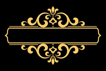 Vintage gold and black element. Graphic vector design. Damask graphic ornament