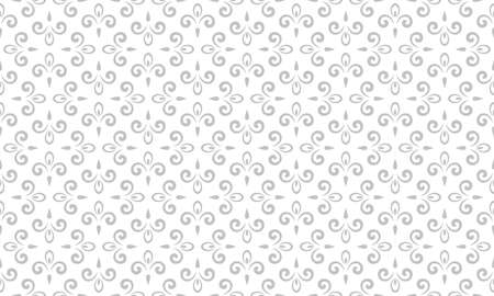 Flower geometric pattern. Seamless background. White and gray ornament.