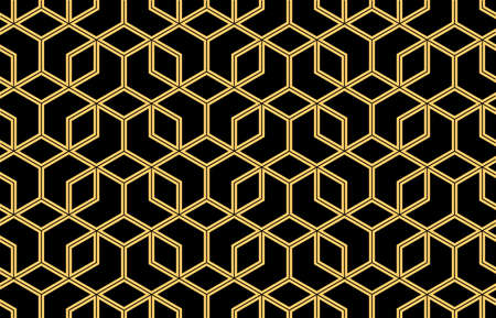 The geometric pattern with lines. Seamless background. Gold and black texture. Graphic modern pattern. Simple lattice graphic design Foto de archivo
