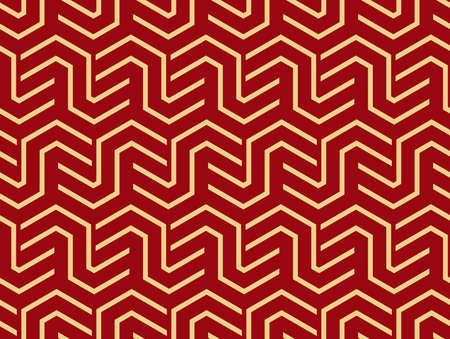 Abstract geometric pattern with stripes, lines. Seamless background. Gold and red ornament. Simple lattice graphic design Foto de archivo