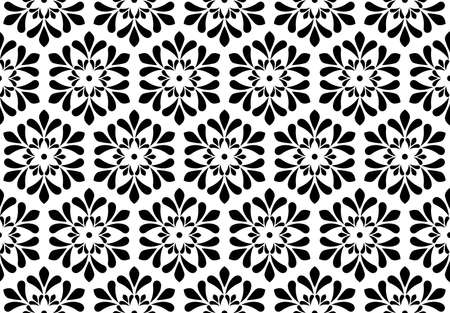 Flower pattern. Seamless white and black ornament. Graphic background. Ornament for fabric, wallpaper, packaging Foto de archivo