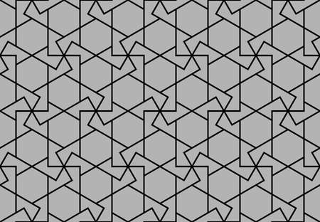 Abstract geometric pattern. A seamless background. Black and gray ornament. Graphic modern pattern. Simple lattice graphic design