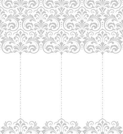 Wallpaper in the style of Baroque. Seamless background. White and gray floral ornament. Graphic pattern for fabric, wallpaper, packaging. Ornate Damask flower ornament.