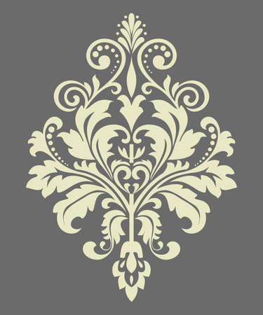 Damask graphic ornament. Floral design element. Gray pattern