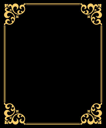 Decorative frame Elegant element for design in Eastern style, place for text. Floral golden and black border. Lace illustration for invitations and greeting cards Foto de archivo