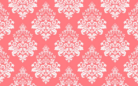 Wallpaper in the style of Baroque. Seamless background. White and pink floral ornament. Graphic pattern for fabric, wallpaper, packaging. Ornate Damask flower ornament