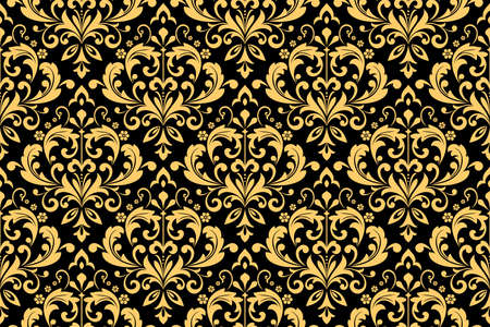 Floral pattern. Vintage wallpaper in the Baroque style. Seamless background. Black and gold ornament for fabric, wallpaper, packaging. Ornate Damask flower ornament