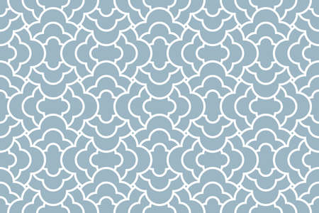 The geometric pattern with wavy lines. Seamless background. White and blue texture. Simple lattice graphic design