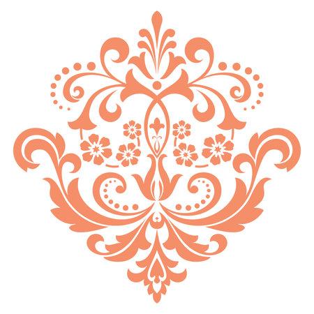 Damask graphic ornament. Floral design element. Pink pattern Foto de archivo