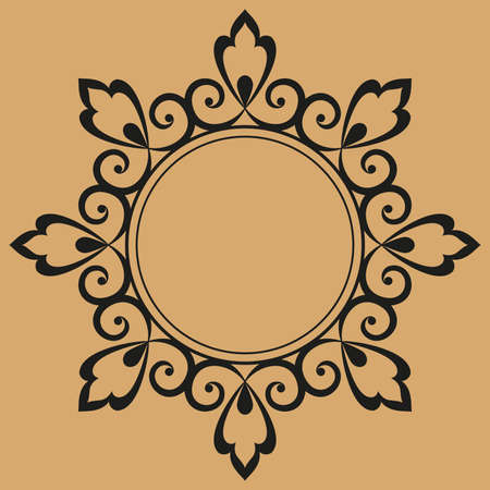 Decorative frame Elegant element for design in Eastern style, place for text. Floral black and beige border. Lace illustration for invitations and greeting cards