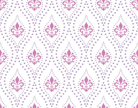 Wallpaper in the style of Baroque. Seamless background. White and purple floral ornament. Graphic pattern for fabric, wallpaper, packaging. Ornate Damask flower ornament Foto de archivo