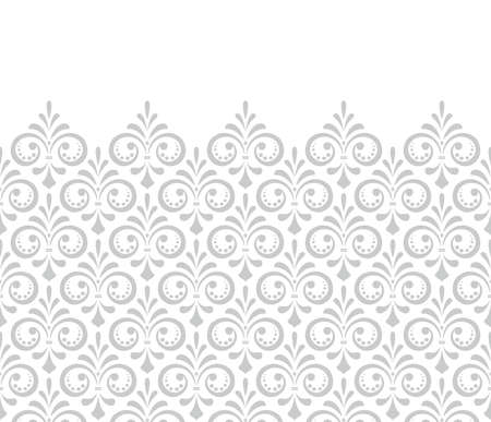Wallpaper in the style of Baroque. Modern background. White and gray floral ornament. Graphic pattern for fabric, wallpaper, packaging. Ornate Damask flower ornament