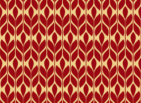 Flower geometric pattern. Seamless background. Gold and red ornament. Ornament for fabric, wallpaper, packaging. Decorative print