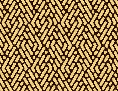 Abstract geometric pattern with stripes, lines. Seamless background. Dark brown and gold ornament. Simple lattice graphic design