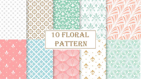 Geometric floral set of seamless patterns. Color and white backgrounds. Simple illustrations Banque d'images