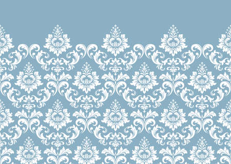 Floral pattern. Vintage wallpaper in the Baroque style. Modern background. White and blue ornament for fabric, wallpaper, packaging. Ornate Damask flower ornament Banque d'images