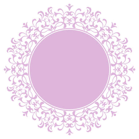 Decorative frame Elegant element for design in Eastern style, place for text. Floral purple border. Lace illustration for invitations and greeting cards