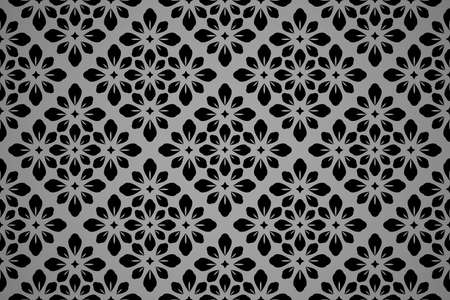 Flower geometric pattern. Seamless background. Black and gray ornament