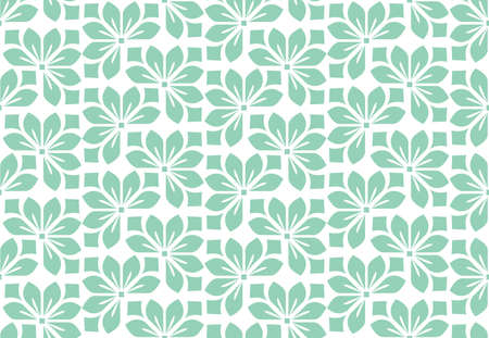 Flower geometric pattern. Seamless background. White and green ornament. Ornament for fabric, wallpaper, packaging. Decorative print