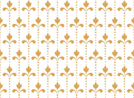 Flower geometric pattern. Seamless background. White and gold ornament. Ornament for fabric, wallpaper, packaging. Decorative print.