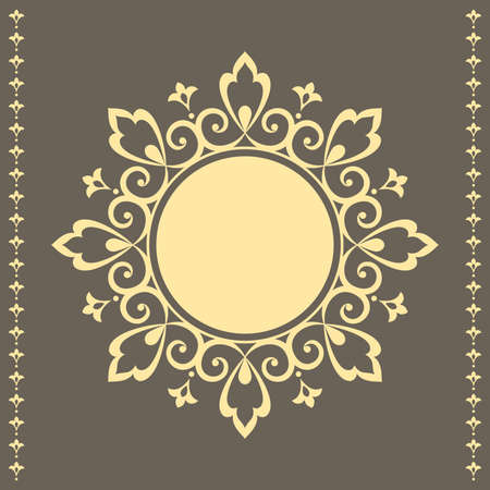 Decorative frame Elegant vector element for design in Eastern style, place for text. Floral golden and gray border. Lace illustration for invitations and greeting cards