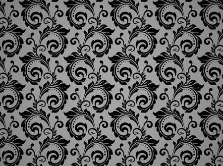 Flower pattern. Seamless black and gray ornament. Graphic background. Ornament for fabric, wallpaper, packaging Banque d'images