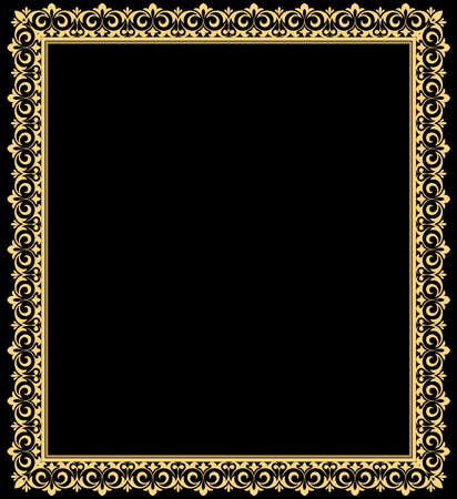 Decorative frame Elegant element for design in Eastern style, place for text. Floral golden and black border. Lace illustration for invitations and greeting cards Stock fotó