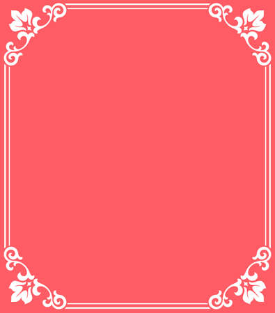 Decorative frame Elegant element for design in Eastern style, place for text. Floral pink and white border. Lace illustration for invitations and greeting cards Stock fotó