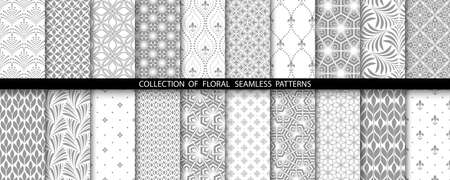 Geometric floral set of seamless patterns. Gray and white backgrounds. Simple illustrations.